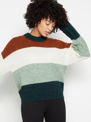 Striped knitted alpaca wool blend jumper Aqua