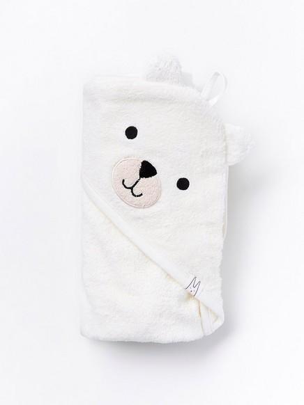 Hvitt frottébadehåndkle Hvit
