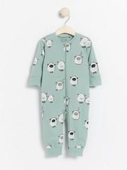 Pyjamas med sauetrykk og applikasjon Havblå