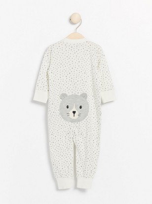 White pyjamas with grey dots and cat appliqué White