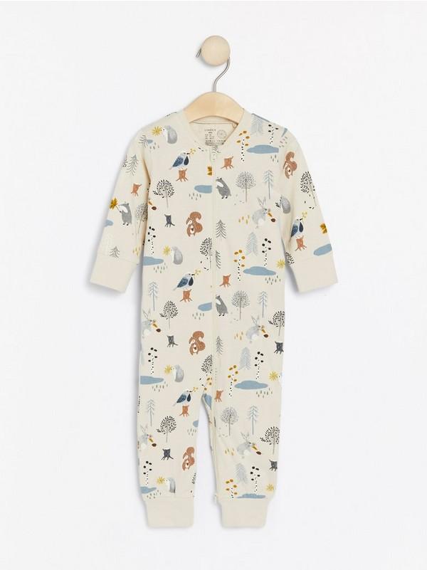 Pitkähihainen pyjama, jossa metsän eläimiä Beige