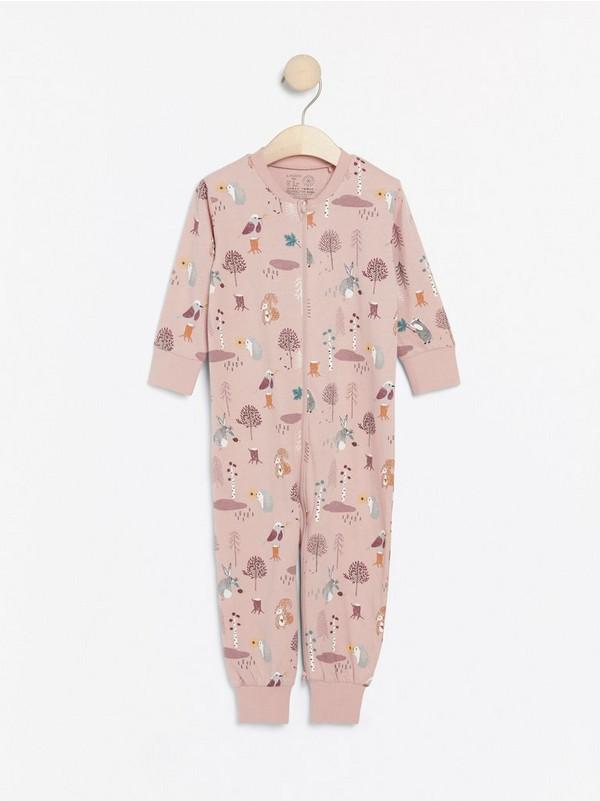 Pitkähihainen pyjama, jossa metsän eläimiä Vaaleanpunainen