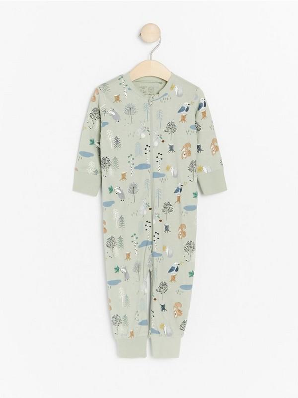Pitkähihainen pyjama, jossa metsän eläimiä Vihreä