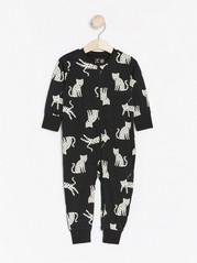 Pyjamas with white leopards Black
