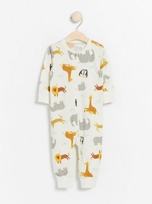 Vit pyjamas med djurmönster Vit