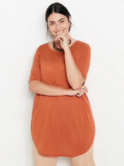 Pitkä pusero lyocell-sekoitetta Oranssi