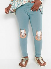 Turquoise leggings with squirrel knee patches Turquoise