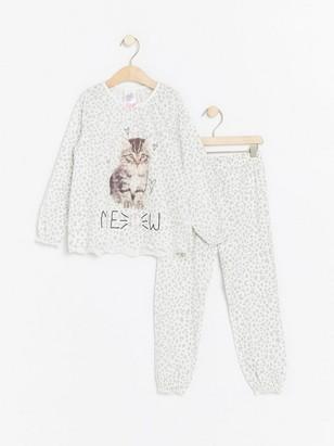 Patterned pyjamas with cat print White