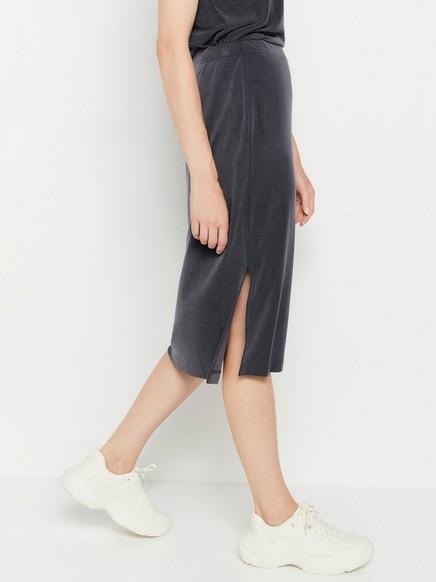Žebrovaná midi sukně Šedivá