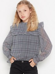 Checked chiffon blouse with frills Black