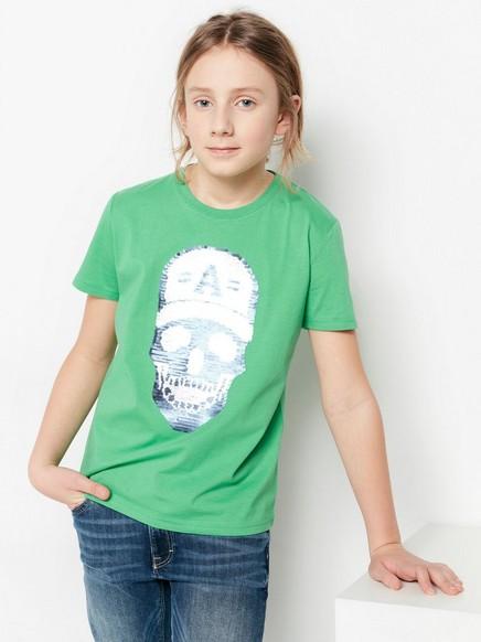 T-skjorte med vendbare paljetter Grønn