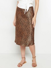 Midi skirt with lustre  Brown