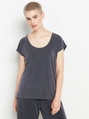 Ribbed short sleeve top  Grey