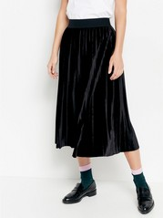 Pleated velvet skirt  Black