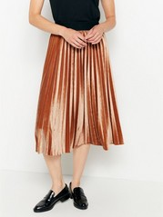 Pleated velvet skirt  Brown