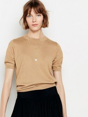 Short sleeve fine-knit jumper  Brown