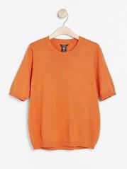 Kortärmad finstickad tröja Orange