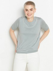 Short sleeve fine-knit jumper  Green