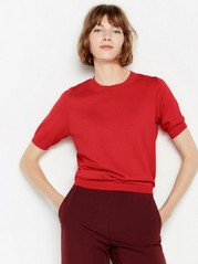 Short sleeve fine-knit jumper  Red
