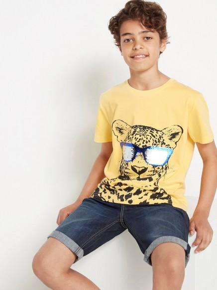 Gul t-shirt med vändbara paljetter Gul