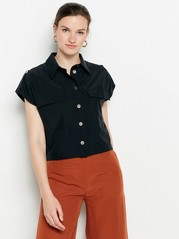 Black lyocell blend blouse  Black