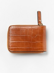 Croco patterned card holder  Brown