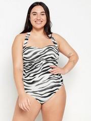Sebramønstret badedrakt med halterneck Hvit