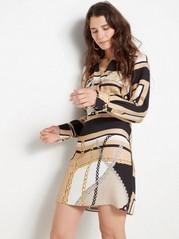Long sleeve pattterned viscose dress  Beige