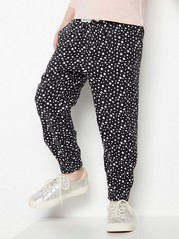 Loose black viscose trousers with white dots Black