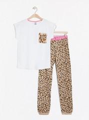 Pyjamas med leopardtrykk Hvit