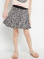 Leopard Patterned Sweatshirt Skirt Beige