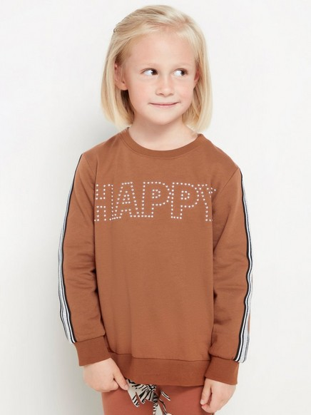Brown sweatshirt with rivets and glittery side stripes Brown