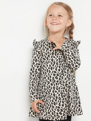Tunic with leo print and frill shoulders Beige
