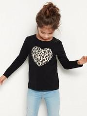 Svart topp med hjerte med leopardmønster Svart