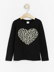 Black top with leopard print heart Black