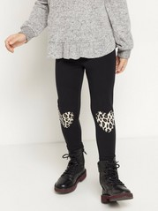 Black leggings with leo printed hearts on knees Black