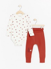 Set with long sleeve bodysuit and trousers with foxes Orange
