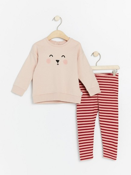 Set with sweatshirt and striped leggings Pink