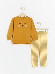 Set with sweatshirt and striped leggings Yellow