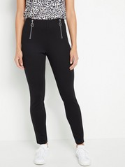 Black jersey trousers with zippers  Black