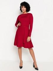 Strikket kjole med foldeskjørt Rød