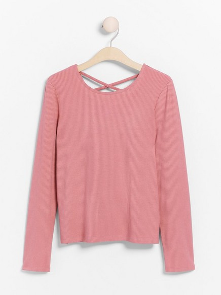 Ribbed long sleeve top with crossed back straps Pink