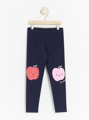 Leggings with Apple Print Blue