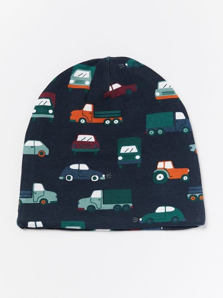 Jersey cap with cars and fleece lining Blue