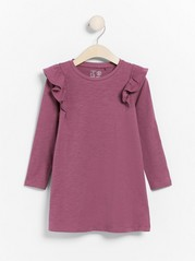 Lilac slub jersey tunic with frill shoulders Pink