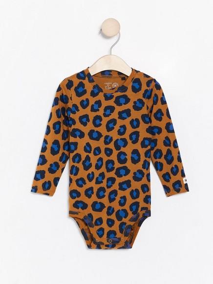 Pitkähihainen body, jossa ruskea leopardipainatus Ruskea