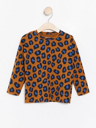 Long sleeve top with brown leopard print Brown