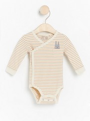 Striped wrap bodysuit with print Brown