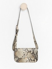 Snakeskin patterned belt bag  Beige