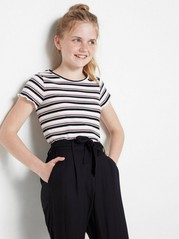 Striped ribbed jersey top White